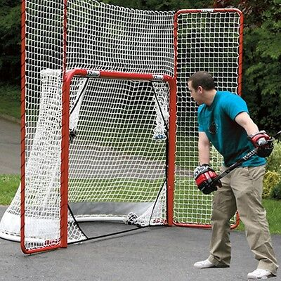 EZGoal Street Hockey Folding Pro Net w/ Backstop and Targets Red/White Practise