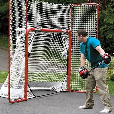 Street Hockey Folding Pro Goal with Backstop and Targets Red/White Net Practise