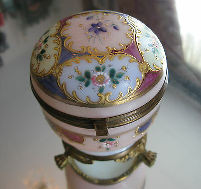 !!antique 1800's  Opalene Glass Hand Painted Enamel Gilt Footed   Ring  Box