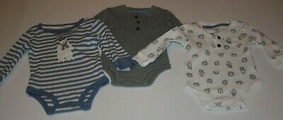 New Carter/'s Boys 3 Pack Bodysuits Tops NWT Stripes Solid Bugs 6m 9m 12m 18m
