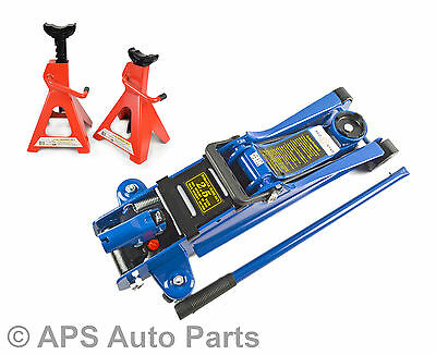 Hydraulic Floor Trolley Jack 2.5T Ton Low Profile & Set Of 3 Ton Axle Stands New