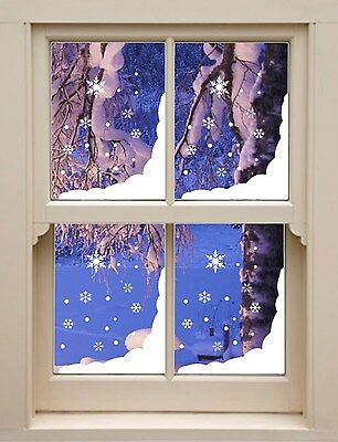 4 x Christmas snow corner and snowflakes xmas decal / stickers decorations