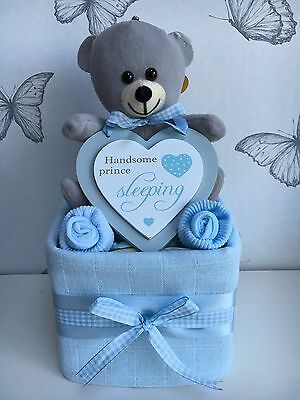 Baby Boy One Tier Nappy Cake Baby Shower Gift New Baby Gift Maternity Present