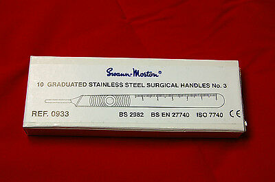 No.3 Handles x10, Swann Morton, crafts, graphics, medical, steel, silver, tools