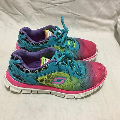 Girl's Skechers Skech - Knit Running Shoes - Blue Pink Purple ( Size 4Y ) Youth