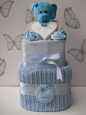 Deluxe 2 Tier New Baby Boy Nappy Cake/Baby Shower Gift Maternity Gift