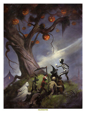 THE HALLOWEEN TREE Mike Hoffman Giclee Stretched Canvas Print!