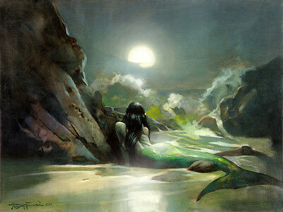 MERMAID SEA REVERIE Mike Hoffman Giclee Stretched Canvas Print!