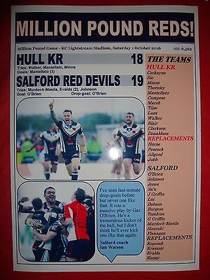 Hull KR 18 Salford Red Devils 19 - 2016 Million Pound Game - souvenir print