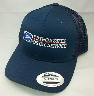 USPS Embroidered Trucker Mesh Snapback Hat NAVY BLUE Yupoong / USPS LOGO2 Cap