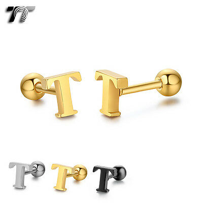 TT Surgical Steel Letter T Fake Ear Cartilage Tragus Earrings (TR19) NEW