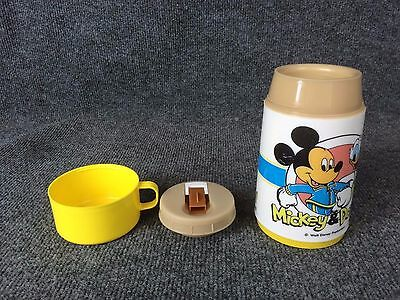 Vintage Walt Disney Mickey Mouse Donald Duck Aladdin Yellow Cup Lunchbox Thermos