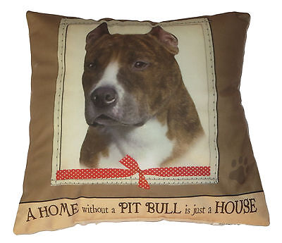 Pit Bull Throw Pillow A Home Without is Just a House Dog New Soft Paw Print