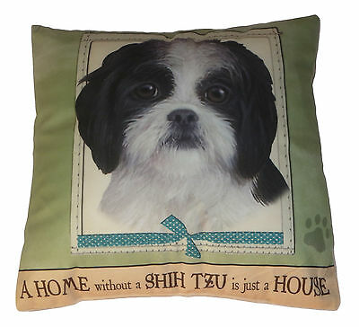 Shih Tzu Throw Pillow A Home Without is Just a House Dog Black White Puppy Cut