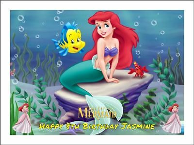 ARIEL LITTLE MERMAID A4 (25.5cm x 19cm) EDIBLE ICING IMAGE CAKE TOPPER #1