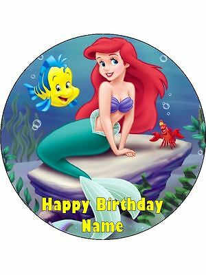 Ariel Little Mermaid 19Cm Real Edible Icing Image Birthday Cake Topper