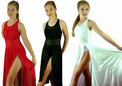 White Red Black Modern Dance Lyrical Ballet Costume Mesh Dress - 8 10 12 14