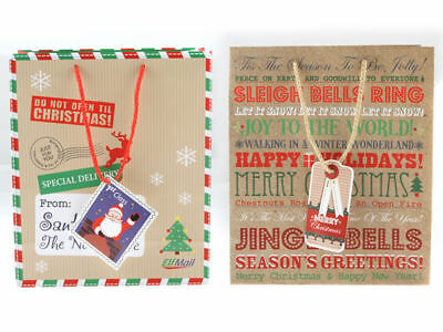 12 xmas christmas paper gift bag 2 designs 25.5x21.5x10cm bulk wholesale lot