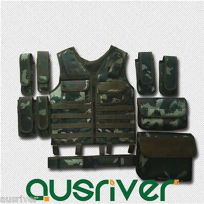 Adjustable Tactical Vest Wargame Paintball Molle Airsoft Combat SWAT+Waistband