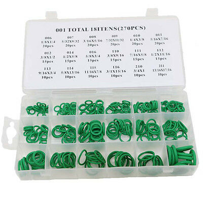 270x Car Air Conditioning Case/box O Ring Seal Coupling 18 Size Assortment Kit