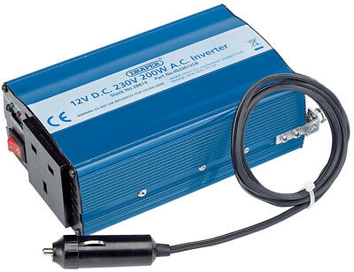Draper 12V Vehicle/Car Battery 200W Dc-Ac Power Inverter - 28814