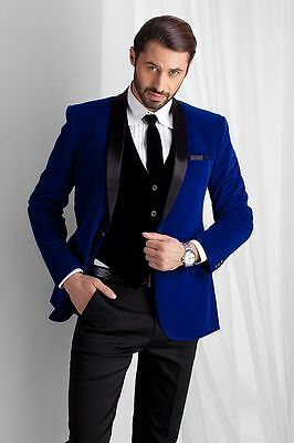 Royal Blue Men's Velvet Groom Tuxedos Groomsman Best Man Bridegroom New Suits