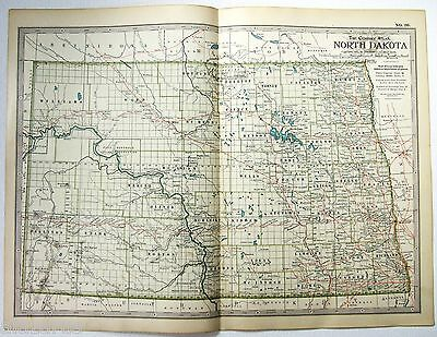 Original 1897 Map of North Dakota - A Finely Detailed Color Lithograph