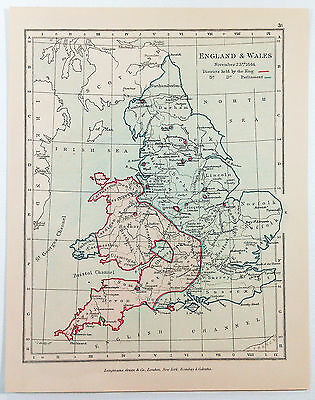Vintage Map of England & Wales on November 23, 1644 by Longmans Green 1914