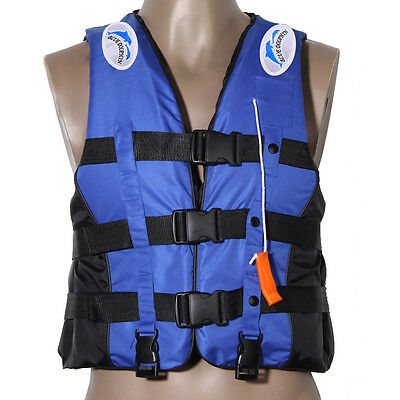 XXXL Universal Adult Polyester Life Jacket Swimming Boating Ski Vest+Whistle New