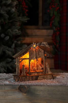 Aged Wood Nativity Scene with LED Lights.  18.5cm