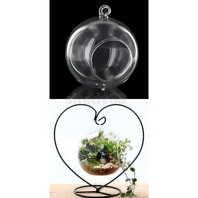 Hanging Glass Flowers Plant Vase Terrarium Container w/ LOVE Heart Metal Stand
