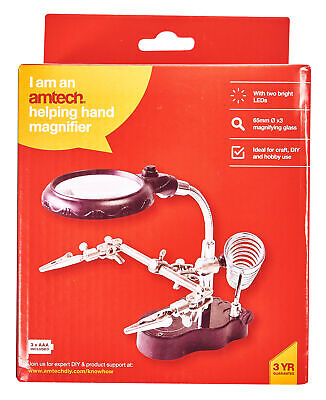 Helping Hand Magnifier Set and Soldering Stand With LED Iron Jewellery Clip New