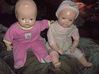 """Two Beautiful Antique 12"""" Composition Baby dolls in pink"""