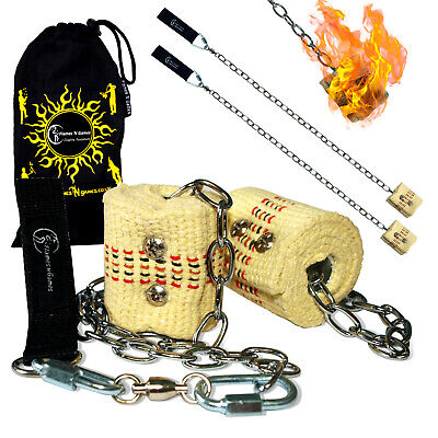 Flames N Games Starter Fire Poi Set- Pro Fire Spinner 2 x 45mm Wick + Bag