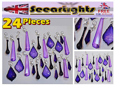24 Lilac & Victorian Purple Chandelier Crystals Glass Light Droplets Beads Parts