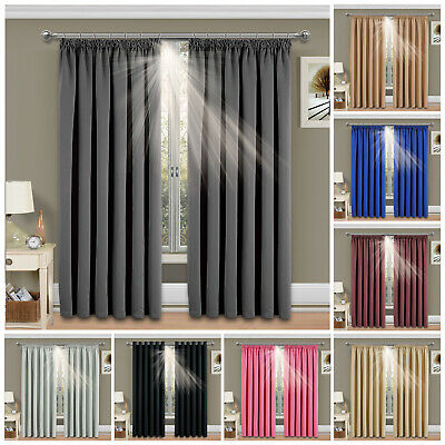 Thermal Blackout Pencil Pleat Ready Made Tape Top Window Curtains Free Tiebacks