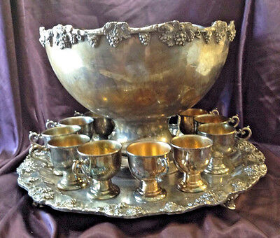 Rare Vintage 1930s 12 Pc Huge Grand GSC Silverplated Copper Punch Bowl Set