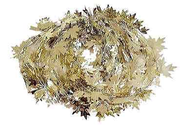 Thanksgiving Fall Harvest Wire Leaf Garland 25 Feet Long (Silver Gold)