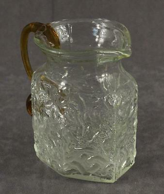 "Vintage Glass Creamer Pitcher Molded Clear & Amber Brain Raised Relief 4.5"" Tall"