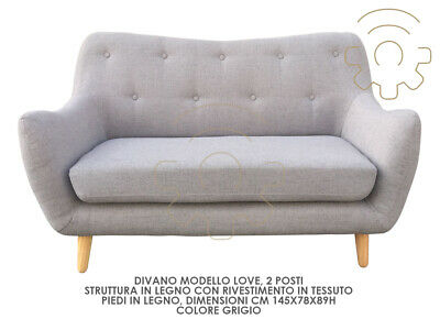 Sofa small sofa 2 places model Love gray color legs wood coating fabric