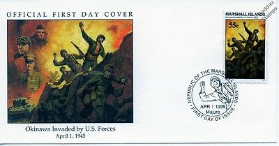 1945 US MARINES INVADE OKINAWA JAPAN WWII Stamp FDC