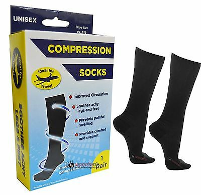 Unisex Men's Ladies Flight Travel Comfy Safe DVT Compression KneeHigh Socks 9-12