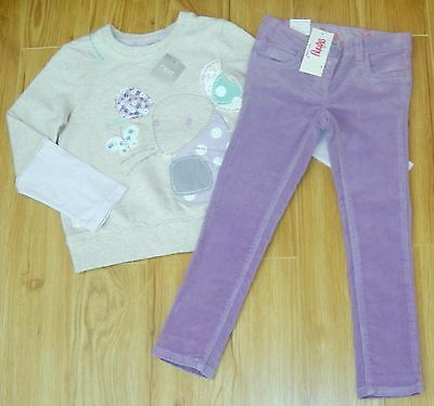 Bnwt Girls Next Mouse Top & Lilac Skinny Jeans 5-6 Yrs New Jeggings Christmas