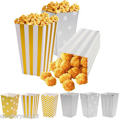 12 Popcorn Snack Boxes Wedding Favour Party Chevron/Striped/Dot Loot Paper Bags