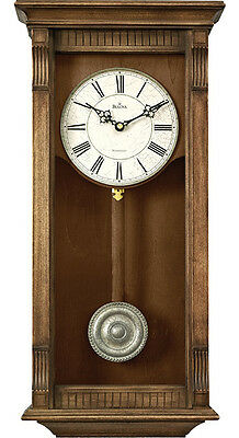 Bulova Warrick Natural Oak Finish Chime Pendulum Wall Clock C4335