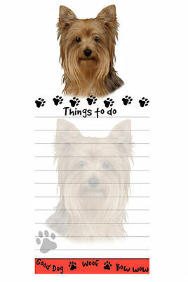 Yorkshire Terrier Magnetic Note Pad Yorkie Adhesive 50 Sheets Good Dog Woof Bow