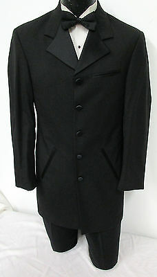 Black Cannes Tuxedo Jacket Halloween Costume Western Frock Coat Steampunk 44R