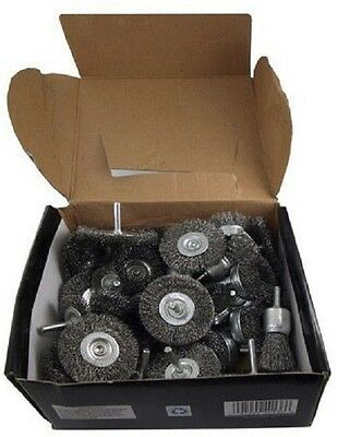"40pc Wire Wheel Cup Brushes Assortment Box Crimped Metal Grinding 1/4"" CZWW40P"