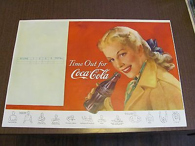 Coca Cola Vintage 1948 NOS 11 x 16 Unused Football Program Page