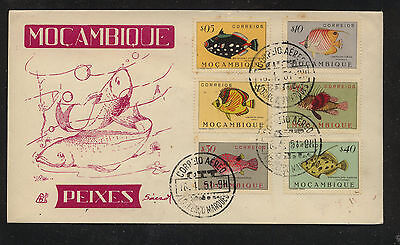 Mozambique  232-37 fish stamps on cachet first day 1951        KL0522